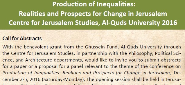 Conference - Production of Inequalities on 3 - 5 December 2016