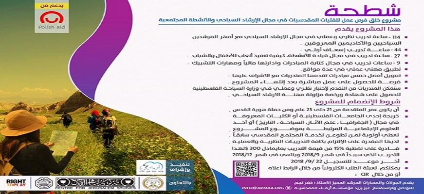 شطحة : مشروع خلق فرص عمل للفتيات المقدسيات في مجال الإرشاد السياحي والأنشطة المجتمعية